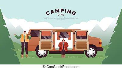 camping, style de vie, gabarit, fourgon, maison, couple
