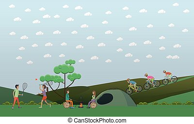 Camping, summer outdoor activities concept vector illustration in flat style.