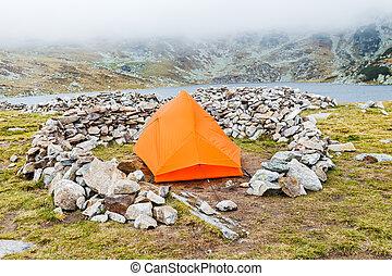 camping, sur, les, montagnes