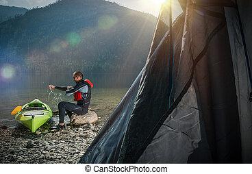 camping, sur, les, rivage lac