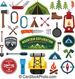 Camping symbols - Set of camping equipment symbols and icons