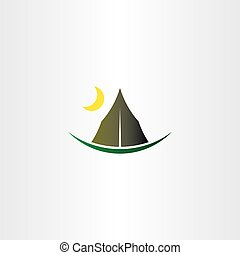 camping tent and moon vector icon