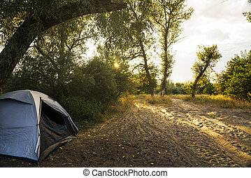 Camping Tent by Lake