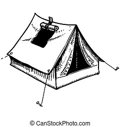 Camping tent - Hand drawing sketch. Eps 10 vector...