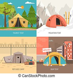 Camping tent concept 4 icons square design with family summer and winter sportive models isolated vector illustration