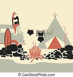 Camping tent, fire. Surf camp.