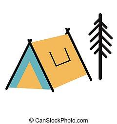 camping tent flat illustration