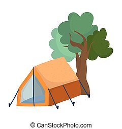 camping tent foliage trees nature cartoon isolated icon design