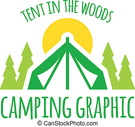 Camping tent graphic with trees and sunset