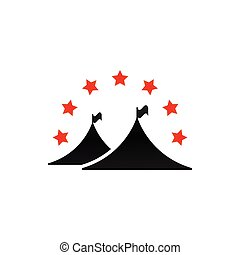 Camping tent graphic with stars