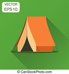 Camping tent icon. Business concept camping house pictogram. Vector illustration on green background with long shadow.