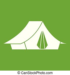 Camping tent icon green