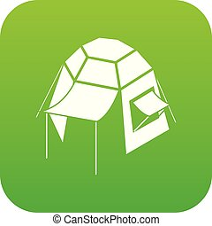Camping tent icon green vector