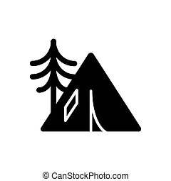 Camping tent icon solid vector contour isolated on white background