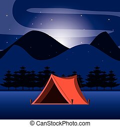 camping tent in night landscape