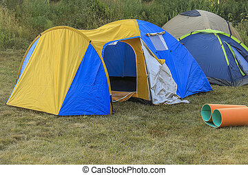 Camping tent in the nature.