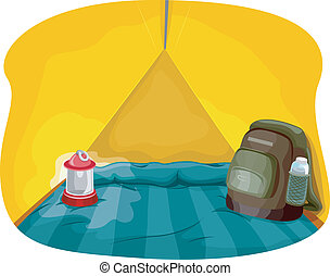 Illustration Featuring the Interior of a Camping Tent