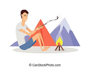 Camping Tent Near Fire and Mountains