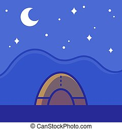 Camping tent on night landscape