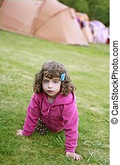 Camping tent vacation with little girl in nature