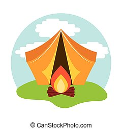 camping tent with campfire icon