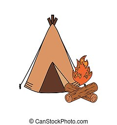 camping tent with campfire