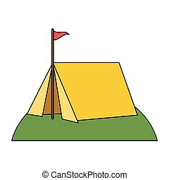 Camping tent with flag