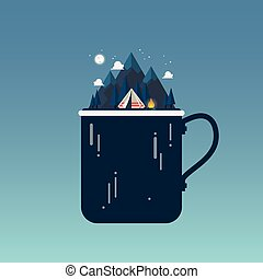 Camping tent with landscape at night in metal mug