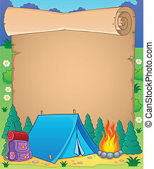 camping, thème, parchemin, 1