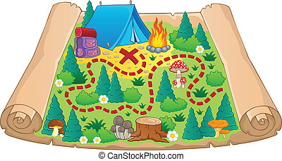 Camping theme map image 2 - vector illustration.