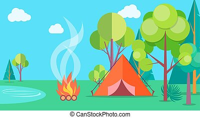 Camping Time in Summer Template Poster with Tent