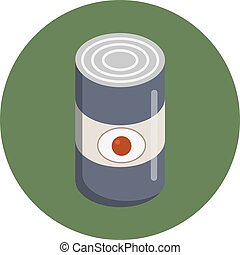 Camping tin can icon In green circle. Flat vector style