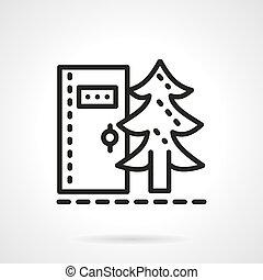 Camping toilet black line vector icon