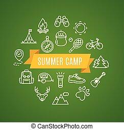camping, tourisme, randonnée, concept., vecteur