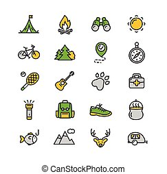 camping, tourisme, randonnée, icône, set., vecteur