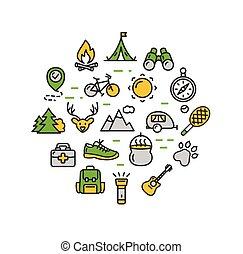 camping, tourisme, randonnée, rond, conception, gabarit, ligne mince, icon., vecteur