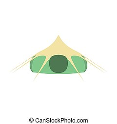 Camping tourist green tent icon isolated on white background. Vector illustration