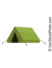 Camping tourist outdoor tent isolated on white background. Vector illustration