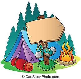 camping, trä, underteckna, nära, tält