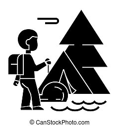 camping tracking, tent, traveller, tourist, hiking  icon, vector illustration, sign on isolated background