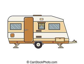 Camping trailer family caravan. Traveler truck camper ...