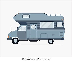 Camping Trailer Family Traveler Truck Flat Style Icon