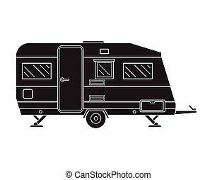 Camping Trailer Family Traveler Truck Outline Icon