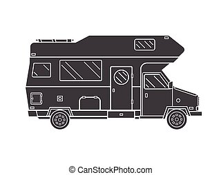 Camping Trailer Family Traveler Truck Outline Icon