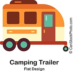 Camping Trailer Flat Icon