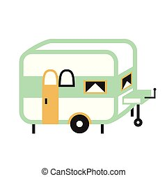 camping trailer flat illustration