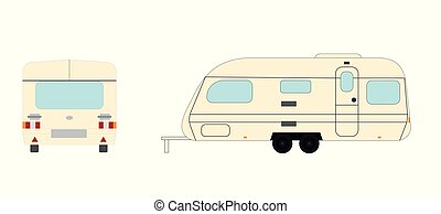 Camping Trailer Front and Side View Isolated