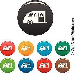 Camping trailer icons set color