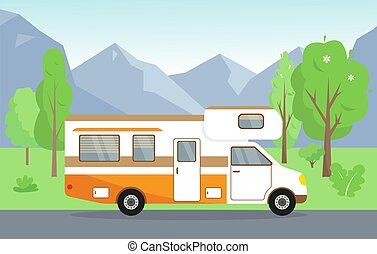 Camping trailer on the road. Vector illustration.