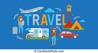 Camping travel banner vector illustration. Vacation and tourism concept. Female, male travelers with map. Tent, vehicle such as car, plane, bus. Summer camp, hiking. Outdoor activity.